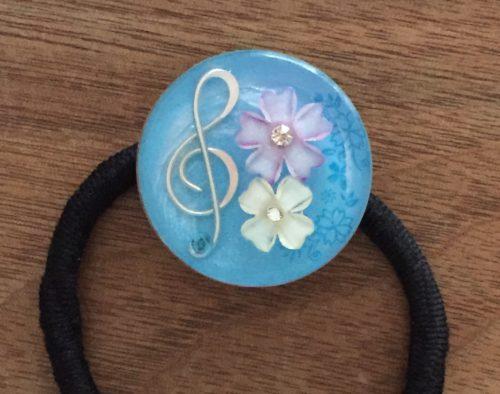レジンヘアゴム (音符と花)
